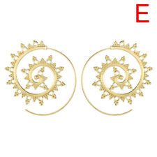 Retro Circles Round Spiral Tribal Hoop Earrings Ear Stud Piercing Jewelry Women a