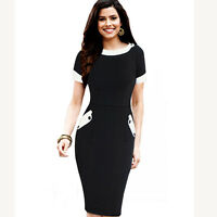 Womens Vintage Rockabilly Cotton Work Party patchwork Bodycon Pencil Dress 832