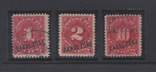 CANAL ZONE J1-3 USED FIRST POSTAGE DUES IN MOUNTS