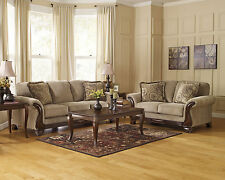 Traditional Living Family Room Couch Set - Light Brown Fabric Sofa Loveseat IG07
