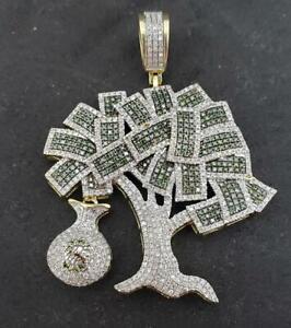 10K Yellow Gold Sterling 3. Ct Round Diamond Dollar Money Bag Tree Charm Pendant