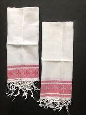 New listing Vintage Linen Dish Towels Fleur De Lis Red And White