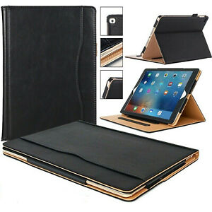 Genuine Leather BLACK TAN Smart Stand Case Cover For Apple ipad Air, Air2, 9.7