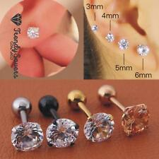 Pair of 18G Stainless Steel Ear Stud Piercing Tragus Barbell Studs Earrings CZ