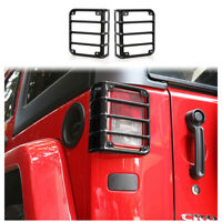 For Jeep Wrangler JK 07-17 Rear Taillight Guard Lamp Cover Trim Black Metal 2pcs