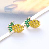 Lovely Women Girl Pineapple Shape Metal Stud Earrings Ear Stud Fashion Jewelry