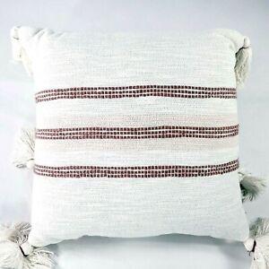 "18"" x 18"" Center Slub Stripe Throw Pillow Rose Red / Sour Cream - Hearth & Hand"