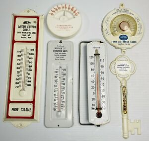 Vtg Metal Advertising Wall Window Thermometers Antique Tin Sign Plastic Old Farm