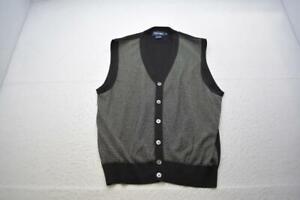 Polo Golf Ralph Lauren Black/White Cardigan Sweater Vest Mens Size XL