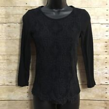 J Crew Shirt Womens Small Black Lace Front Tee 3/4 Sleeve Boho Chic