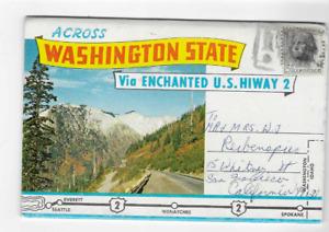 POSTCARD FOLDER-WASHINGTON STATE-VIA ENCHANTED U,S. HIGHWAY 2