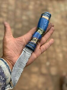 """Custom Hand Made Damascus Unique 11"""" Bowie Knife With Leather Sheath"""