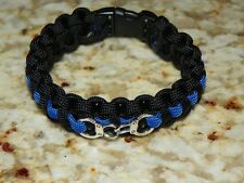 "Thin Blue Line ""Backwood Paracord"" Survival Bracelet  - Police Handcuff Charm"