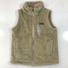 Patagonia Girl's Los Gatos Vest Full Zip El Cap Khaki Fuzzy Furry Sherpa LG 12