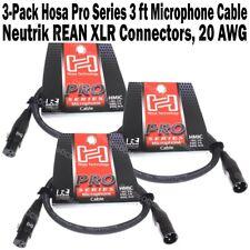 3-Pack Hosa Pro Series 3 ft XLR Microphone Cable Neutrik REAN Connectors HMIC003