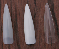 Long Stiletto Nail Tips Natural Clear White - practice display *UK SELLER*