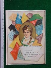 1870s-80s Jas A Joyce Girl with Stiched Patches Fabric Victorian Trade Card #R