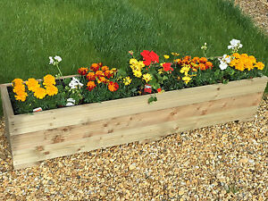 150x32x33 (cm) LARGE TREATED TIMBER OUTDOOR PLANTER / WOODEN TROUGH