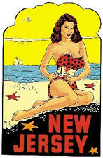New Jersey   Pin-Up Girl    Vintage-Style  Travel Decal