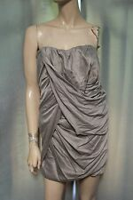 Elizabeth & James Olsen Twins Taupe Rouched Strapless Ruched Drape Dress size 6