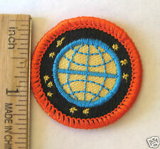 Girl Scout 1990-2001 Junior READY FOR TOMORROW BADGE Globe Earth Stars Patch NEW