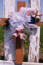Grave Flowers Freesia Wooden Cross Door Window Wall or Cemetery for Mother