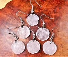 Rose Quartz Pink Flower Crystal Earrings Carved H13 Healing Crystals And Stones