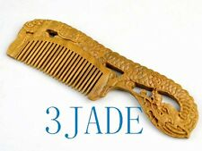 Hand Carved Natural Green Sandalwood Dragon Comb