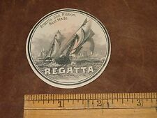 1870s-80s Engraved Regatta Silk Ribbon Sailing Race Victorian Paper Label L7