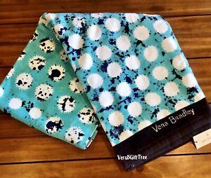 Vera Bradley Beach Towel SPLASH DOT Teal BLUE Oversized SOFT Plush Pool NWT NEW