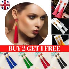 Women Long Fashion Tassel Earrings Boho Dangle Tassle Fringe Hook Drop 9 Colours