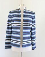 NWT Kasper Blue Striped Open Front Blazer Jacket Size 8 Mandarin Collar Career