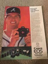 Vintage 1988 DALE MURPHY CANON EOS Camera Poster Print Ad ATLANTA BRAVES 1980s