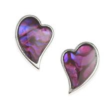 Pink Abalone / Paua Shell Angled Heart Silver Stud Earrings