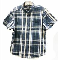 RVCA Mens Large Button Down Cotton Shirt Blue Plaid Casual Short Sleeve