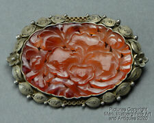 Chinese Carnelian Agate & Silver Filigree Brooch, Flowers, Late 19/Early 20th C