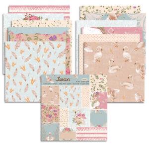 24Pcs  6'' Swan Paper Pad Dot Cardstock DIY Scrapbooking Craft Card Album Paper