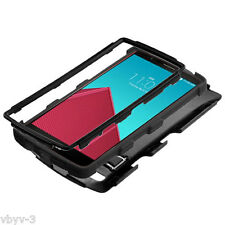 For LG G4 Hybrid Rugged Rubber TUFF Hard Protective Case Cover w/ Stand BLACK