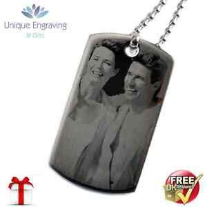Personalised Photo/Text Engraved ID Tag Pendant  - Great Christmas Gift!