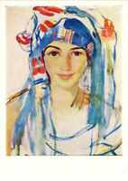 1966 Russian postcard SELF-PORTRAIT WITH SCARF by Zinaida Serebryakova