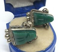 Vtg Sterling Silver Earrings 925 Taxco Mexico Green Stone Screw Back Face Carved