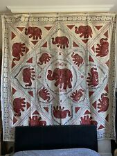 Large Elephant Wall Hanging Patchwork Tapestry Beaded Hand Embroidered Throw