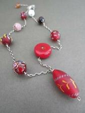 Vintage Murano Venetian Silver Glass Necklace Millefiori Wedding Cake Aventurine
