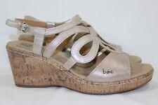 Born Concept Wynda Cork Wedge Sandals Size 9m Cream Gold Leather # C91802