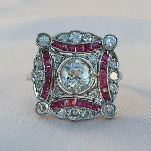 1Ct White Round Cut Diamond With Red Baguette Vintage Ring 925 Sterling Silver
