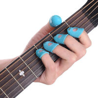 12pcs Silicone Celluloid Guitar Finger Guards Fingertip Thumb Picks Protector #