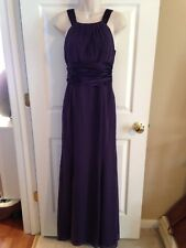 NWT ($145) DAVID'S BRIDAL Lapis Purple Long Chiffon Halter Dress F12732, Size 8