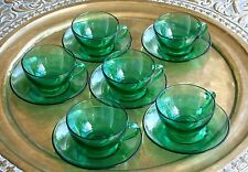 FOR COFFEE LOVERS! GORGEOUS 1970'S SET 6 ARCOROC  EMERALD GREEN COFFEE CUPS VGC!