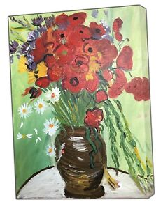 Van Gogh red Poppies and Daisies Picture Photo Print On Framed Canvas Wall Art