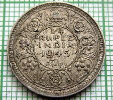 INDIA BRITISH GEORGE VI 1945 1/4 QUARTER RUPEE, SILVER PATINA